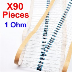 x90 Pcs 1 Ohm, Résistance traversante, ± 1% 1R 1/4 W 0.25 MF25