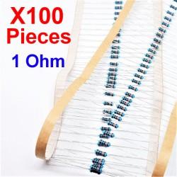 x100 Pcs 1 Ohm, Résistance traversante, ± 1% 1R 1/4 W 0.25 MF25