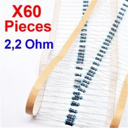 x60 Pz 2,2 Ohm, Resistore per foro passante, ± 1% 2,2R 1/4 W 0,25 MF25