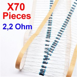 x70 Pcs 2,2 Ohm, Résistance traversante, ± 1% 2R2 1/4 W 0.25 MF25