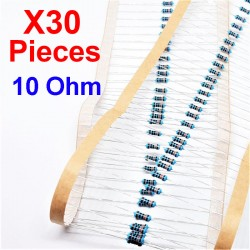 x30 Pcs 10 Ohm, Résistance traversante, ± 1% 10R 1/4 W 0.25 MF25