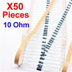 x50 Pcs 10 Ohm, Résistance traversante, ± 1% 10R 1/4 W 0.25 MF25
