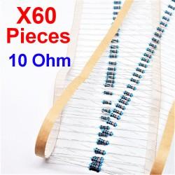 x60 Pcs 10 Ohm, Résistance traversante, ± 1% 10R 1/4 W 0.25 MF25