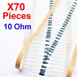 x70 Pcs 10 Ohm, Resistore per foro passante, ± 1% 10R 1/4 W 0.25 MF25