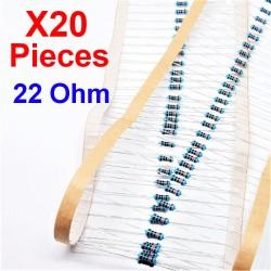 x20 Pcs 22 Ohm, Résistance traversante, ± 1% 22R 1/4 W 0.25 MF25