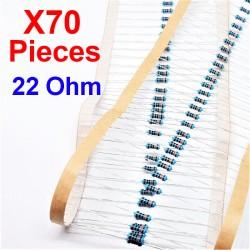 x70 Pcs 22 Ohm, Résistance traversante, ± 1% 22R 1/4 W 0.25 MF25