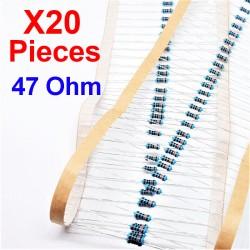x20 Pcs 47 Ohm, Résistance traversante, ± 1% 47R 1/4 W 0.25 MF25