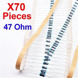 x70 Pcs 47 Ohm, Résistance traversante, ± 1% 47R 1/4 W 0.25 MF25