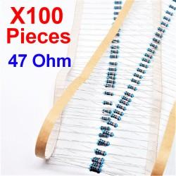 x100 Pcs 47 Ohm, Résistance traversante, ± 1% 47R 1/4 W 0.25 MF25