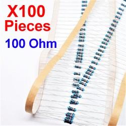 x100 Pcs 100 Ohm, Résistance traversante, ± 1% 100R 1/4 W 0.25 MF25