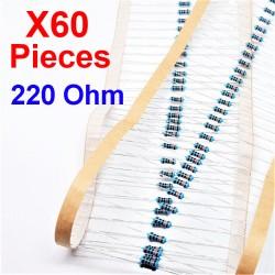 x60 Pcs 220 Ohm, Résistance traversante, ± 1% 220R 1/4 W 0.25 MF25