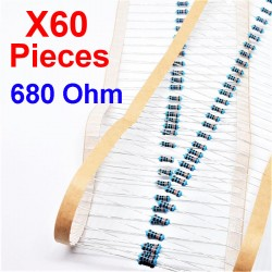 x60 Pcs 680 Ohm, Résistance traversante, ± 1% 680R 1/4 W 0.25 MF25