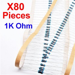 x80 Pcs 1K Ohm, Résistance traversante, ± 1% 1K 1/4 W 0.25 MF25