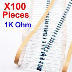 x100 Pcs 1K Ohm, Résistance traversante, ± 1% 1K 1/4 W 0.25 MF25