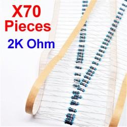 x70 Pcs 2K Ohm, Résistance traversante, ± 1% 2K 1/4 W 0.25 MF25