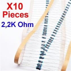 x10 Pcs 2,2K Ohm, Résistance traversante, ± 1% 2K2 1/4 W 0.25 MF25