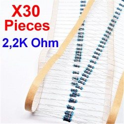 x30 Pcs 2,2K Ohm, Résistance traversante, ± 1% 2K2 1/4 W 0.25 MF25