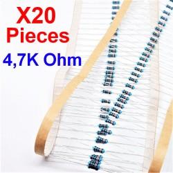 x20 Pcs 4,7K Ohm, Résistance traversante, ± 1% 4K7 1/4 W 0.25 MF25