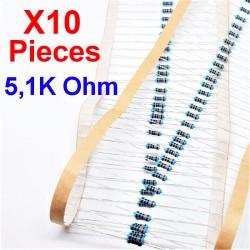 x10 Pcs 5,1K Ohm, Résistance traversante, ± 1% 5K1 1/4 W 0.25 MF25