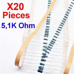 x20 Pcs 5,1K Ohm, Résistance traversante, ± 1% 5K1 1/4 W 0.25 MF25