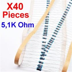 x40 Pcs 5,1K Ohm, Résistance traversante, ± 1% 5K1 1/4 W 0.25 MF25
