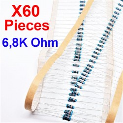 x60 Pcs 6,8K Ohm, Résistance traversante, ± 1% 6K8 1/4 W 0.25 MF25