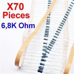 x70 Pcs 6,8K Ohm, Résistance traversante, ± 1% 6K8 1/4 W 0.25 MF25