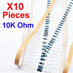 x10 Pcs 10K Ohm, Résistance traversante, ± 1% 10K 1/4 W 0.25 MF25