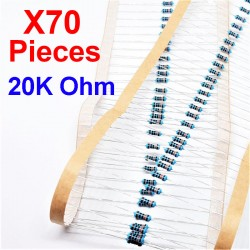 x70 Pcs 20K Ohm, Résistance traversante, ± 1% 20K 1/4 W 0.25 MF25