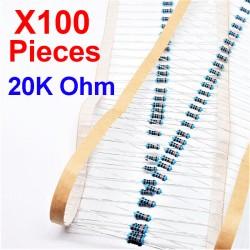 x100 Pcs 20K Ohm, Résistance traversante, ± 1% 20K 1/4 W 0.25 MF25