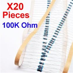 x20 Pcs 100K Ohm, Résistance traversante, ± 1% 100K 1/4 W 0.25 MF25