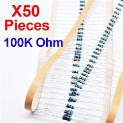 x50 Pcs 100K Ohm, Résistance traversante, ± 1% 100K 1/4 W 0.25 MF25