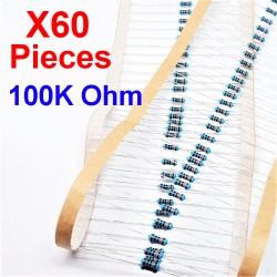 x60 Pcs 100K Ohm, Résistance traversante, ± 1% 100K 1/4 W 0.25 MF25
