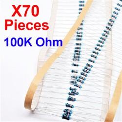 x70 Pcs 100K Ohm, Résistance traversante, ± 1% 100K 1/4 W 0.25 MF25