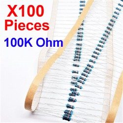 x100 Pcs 100K Ohm, Résistance traversante, ± 1% 100K 1/4 W 0.25 MF25