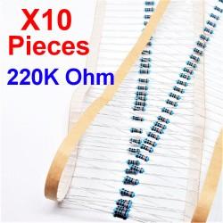 x10 Pcs 220K Ohm, Résistance traversante, ± 1% 220K 1/4 W 0.25 MF25