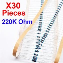 x30 Pcs 220K Ohm, Résistance traversante, ± 1% 220K 1/4 W 0.25 MF25