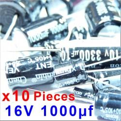 10 Pcs 16V 1000uf ALUMINUM ELECTROLYTIC CAPACITOR 20%  RADIAL