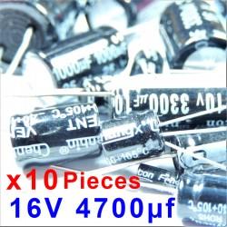 10 Pcs 16V 4700uf ALUMINUM ELECTROLYTIC CAPACITOR 20%  RADIAL