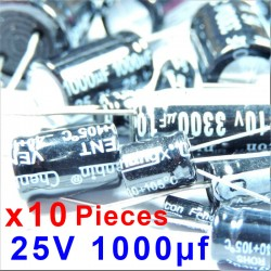 10 Pcs 25V 1000uf ALUMINUM ELECTROLYTIC CAPACITOR 20%  RADIAL