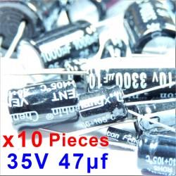 10 Pcs 35V 47uf ALUMINUM ELECTROLYTIC CAPACITOR 20%  RADIAL