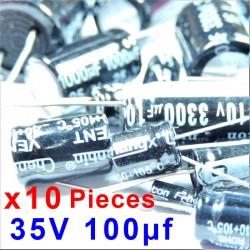 10 Pcs 35V 100uf ALUMINUM ELECTROLYTIC CAPACITOR 20%  RADIAL