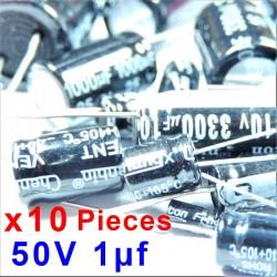 10 Pcs 50V 1uf ALUMINUM ELECTROLYTIC CAPACITOR 20%  RADIAL