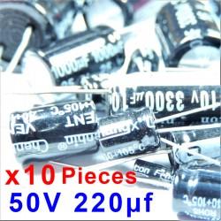 10 Pcs 50V 220uf ALUMINUM ELECTROLYTIC CAPACITOR 20%  RADIAL