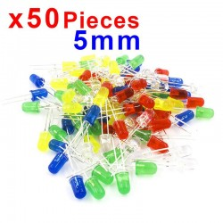 x50 pcs 5mm Kit Diode LED Couleur Mixte Rouge Vert Jaune Bleu Blanc