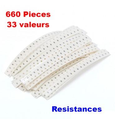 lot de résistance 0603 SMD 1ohm-1M ohm 1% 33 valuesX20pcs, 660pcs
