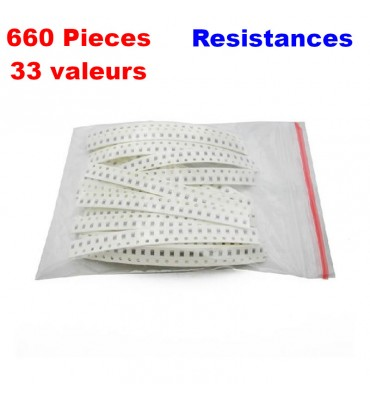 lot de résistance 0805 SMD 1ohm-1M ohm 1% 33 valuesX20pcs, 660pcs