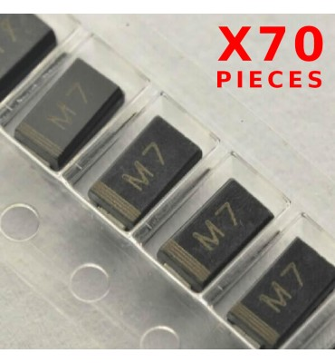 X70Pcs Rectifier Diode M7 1N4007 1A 1000V SMD / CMS DO214