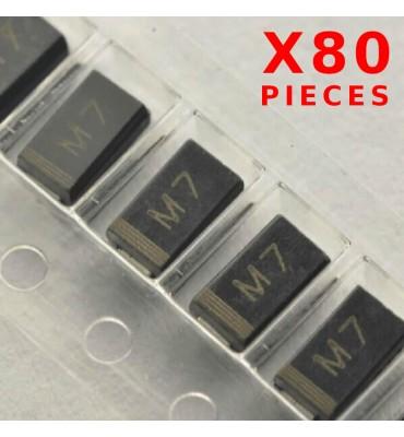 X80Pcs Rectifier Diode M7 1N4007 1A 1000V SMD / CMS DO214