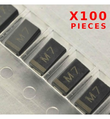 X100Pcs Rectifier Diode M7 1N4007 1A 1000V SMD / CMS DO214